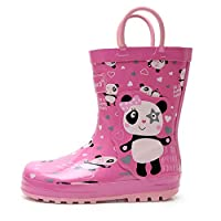 Apakowa Kids Boys Girls Dinosaur Printed Wellington Rain Boots Rainy Rubber Shoes with Easy On Handles for School, Walking, Travelling, Outdoors