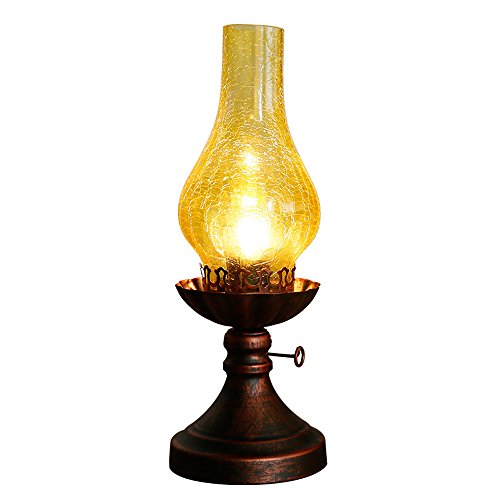 Pumpink Nostalgie Vintage Kerosin Laterne Tischlampe Schreibtischlampe chinesische echte antike Glas...