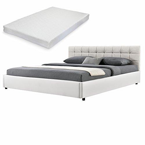 [my.bed] Elegantes Polsterbett mit Kaltschaum-Matratze (H2) - 180x200cm - (Kopfteil: Wild-Leder-Imitat Ivory - Fuß-und Seitenteil: Kunst-Leder weiß) - Bett/Doppelbett /