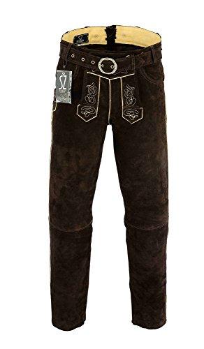 SHAMZEE Trachten lederhose lang inklusive Gürtel aus Echtleder in Braun farbe (50, Braun)