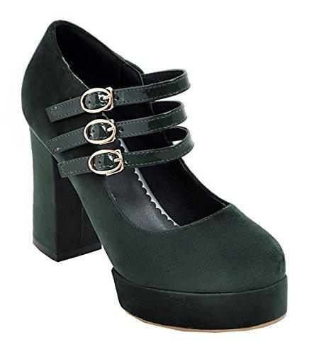 YE Damen High Heels Plateau Geschlossen Pumps mit Blockabsatz und Riemchen  Schnalle 10cm Absatz Wildleder Schuhe