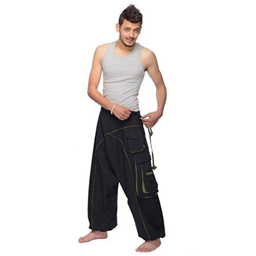 Haremshose Pumphose Aladinhose Pluderhose Yoga Goa Sarouel Baggy Aladin Freizeithose Shanti Herren (Schwarz, S/M) (Der Gesmokt Taille Hose In)