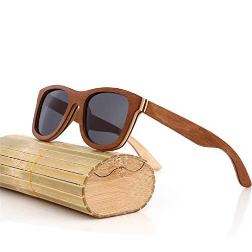 DAIYSNAFDN Schwarze hölzerne Sonnenbrille handgemachte natürliche Skateboard-hölzerne Mannfrauen polarisierte Sonnenbrille 4