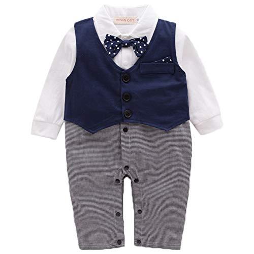 Zoerea Baby Jungen Outfits Langarm Strampler mit Weste Smoking Baumwolle Gentleman Outfit Bowknot Weihnachten,Größe 70 (Smoking Baumwolle)