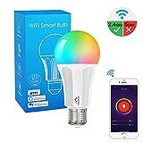 MoKo Lampadina E27 Intelligente Smart Lampadine LED WiFi Controllo Remoto, Funzione Timer, 9W Colorate RGB Luce Calda Dimmerabile per Alexa Echo, Google Home e IFTTT, Controllo App Smart Life No Hub