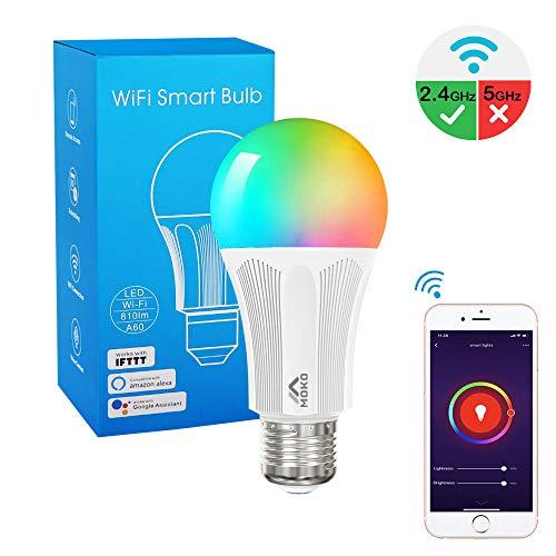 MoKo Lampadina E27 Intelligente Smart Lampadine LED WiFi Controllo Remoto, Funzione Timer, 9W...