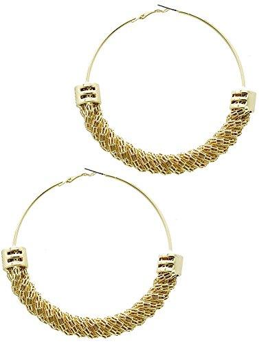 1 paio indora Beyoutifulthings da donna in acciaio e catena in acciaio ritorto Orecchino ad anello giallo con maglie diametro 8,3 cm