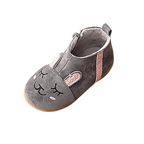 Bébé Enfant Garçon Fille Chaussures Premiers Pas Chaussons Dessin animé Lapin Strass Daim Coton Fermeture à glissière Bottines Bottes Chaussures de Sport à Semelle Souple Soirée Antidérapant