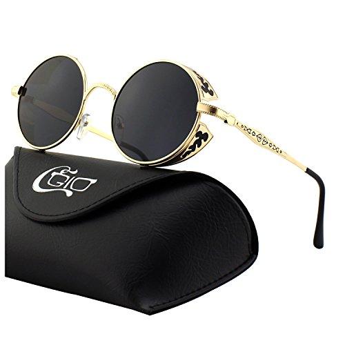 Gafas de sol circulares para hombre metalizadas