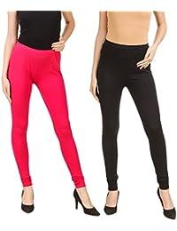 PRASITA Fashion Soft Cotton Lycra Chudidar Leggings For Women's And Girls Size-XL, XXL – (PACK OF 2) ORANGE/WHITE... - B073JHWS67