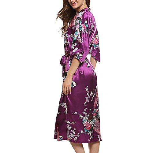 Dolamen Kimono Robe Femmes, Femmes Chemises de nuit Paon et fleurs, Robe peignoir en satin de soie Robe de nuit de demoiselle d'honneur pyjamas, Longue style Violet