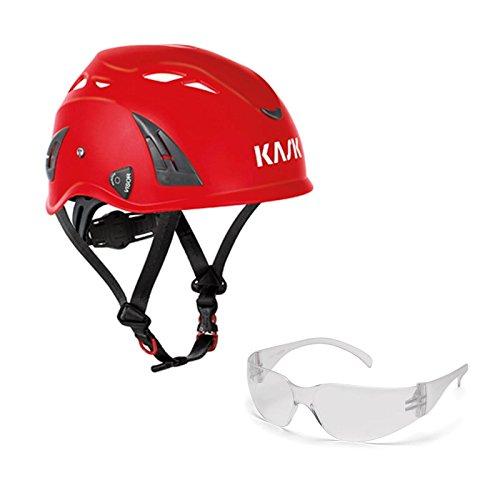 KASK Schutzhelm, Bergsteigerhelm, Industriekletterhelm Plasma AQ - Arbeitsschutz-Helm + Schutzbrille klar - EN 397, Farbe:rot