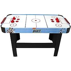 PLAY4FUN Air Hockey Teenager - Table de Air-Hockey avec système d'air pulsé 6-8W - 142 x 72 x 81 cm - Bleu/Noir