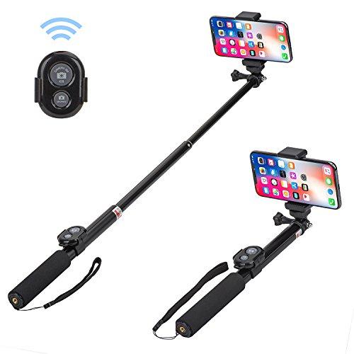 Edge 8x10 Foto (Bluetooth Selfie Stick, Alfort Multifunktionaler Selfie Stangen Erweiterbar Ausfahrbar Stab mit Fernbedienung (Kann Stativ Installiert Werden) Bluetooth Fernbedienung für iPhone X / 8 / 8 Plus / 7 / 6S / 6 Plus / SE / 5S / 5C / 5, Samsung Galaxy S7 / S7 Edge, LG G6, HTC M9 M8, Sony Z5 Z4 Z3 Compact, Android und andere Smartphones (Schwarz 1))