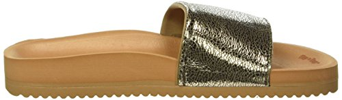 flip*flop Pool Metallic Cracked Pantoletten Braun - Silber Braun (Brown sugar 833)