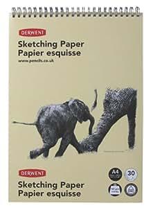 Derwent 2300139 Sketching Paper A4 Portrait, Wirebound Spine, 30 Sheets of Acid Free Paper, 165 gsm