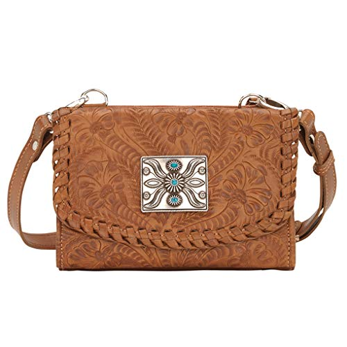 American West & SILVERFEVER , Damen Umhängetasche Small, Braun - Tan - Texas Two Step - Größe: Small (American Handtasche West)