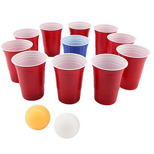 Zyyini Bier-Pong-Set, lustige Trinkspiele, Jumbo-Cup und Pong-Wurfspiel für draußen, Hof, Party, Bar, Rasen, Hinterhof, Heckklappe, lustige Außenspiele für Erwachsene, College-Kinder