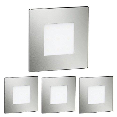 Treppe Set (ledscom.de LED Treppen-Licht Treppen-Leuchte, eckig, 8x8cm, 230V, weiß, 4 Stk.)