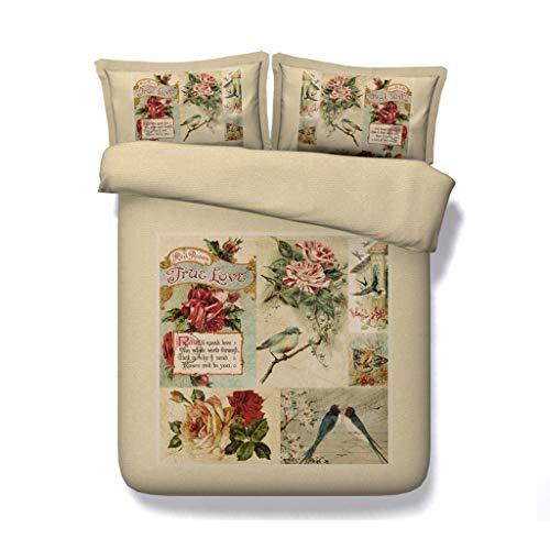 Grüne Blätter Tagesdecke Floral Bettdecke Garten Bettwäsche Set Mädchen Vögel Blumen Tröster Bettbezug Heimtextilien Bettbezug (Farbe : Flower Bed Set, größe : Cal King) -