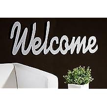 Schriftzug 'WELCOME' zum Hängen, 75 cm, silber