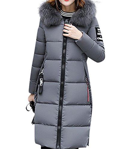 Hiver Femme Manteau Élégant Uni Zip Long Veste à Capuche Fourrure Fausse Chaud Doudoune Coat Blouson Parka Veston Hoodie YOSICIL