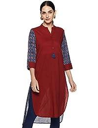Amazon Brand - Myx Women's Cotton Asymmetrical Kurta