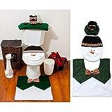 Ohuhu Weihnachten Santa WC-Sitz Cover, Papier Box und Teppich Set, grün