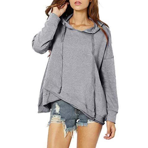 OYSOHE Damen Langarm Beiläufig Lace up Asymmetrie Hoodie Pullover Solide Sweatshirt(Grau,XL)