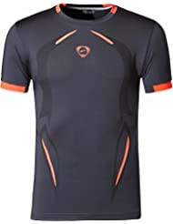 Jeansian Hombres Verano Deportes Wicking Transpirable Quick Dry Short Sleeve T-Shirts Tops Running Training Tee LSL187