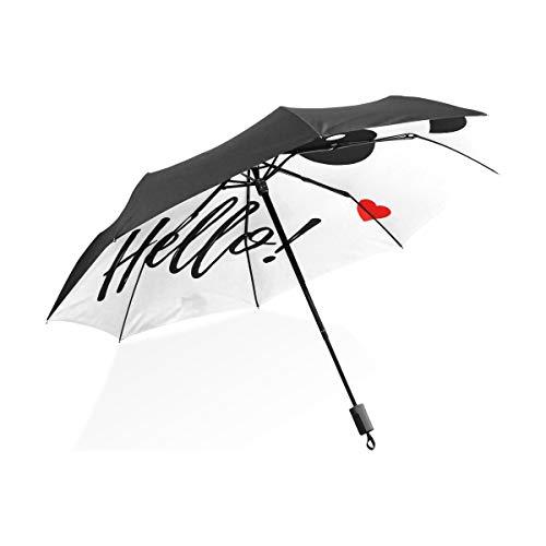 XiangHeFu Regenschirm, süßer Panda, schwarz, weiß, automatisches Öffnen, 3 Falten, leicht, UV-Schutz (Schwarzen Regenschirm Hut)