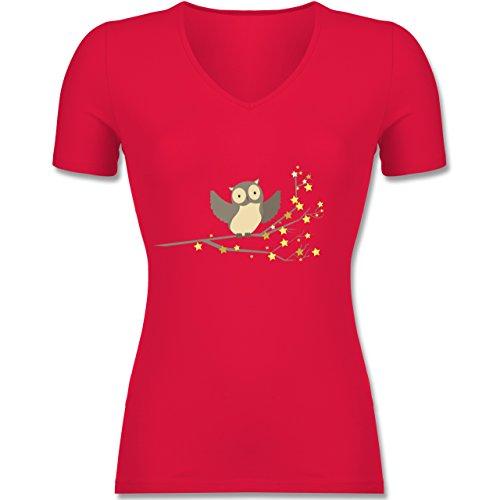 Shirtracer Vögel - Kleine Eule - Tailliertes T-Shirt mit V-Ausschnitt für Frauen Rot
