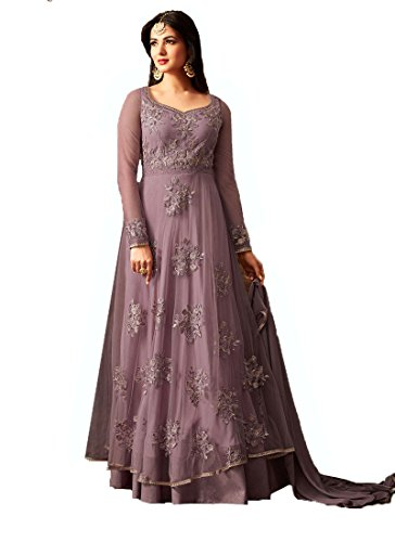 Clothfab Women\'s Net Embroidered with Stone Work Designer Party Wear Long Anarkali Gown Stylish Wedding Salwar Suit Dress Material