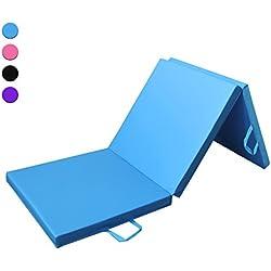 Prime Selection Products Colchoneta de espuma 180cm, triple plegable, para gimnasia, fitness, yoga, aeróbics y ejercicio para casa e interiores; Largo: 180cm, Ancho: 60cm, Grueso: 5cm