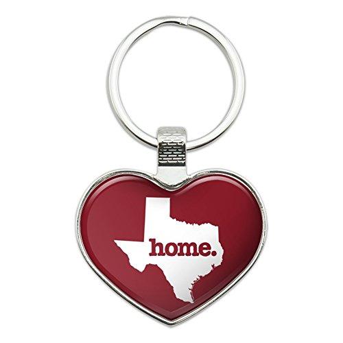 Texas TX Home State solid Maroon Offizielles Lizenzprodukt Herz Love Metall Schlüsselanhänger Ring (Herz Maroon Damen)