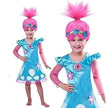 PICCOLI MONELLI Costume Trolls Poppy Bambina 5 6 Anni Vestito di Carnevale con Parrucca Inclusa 120 cm