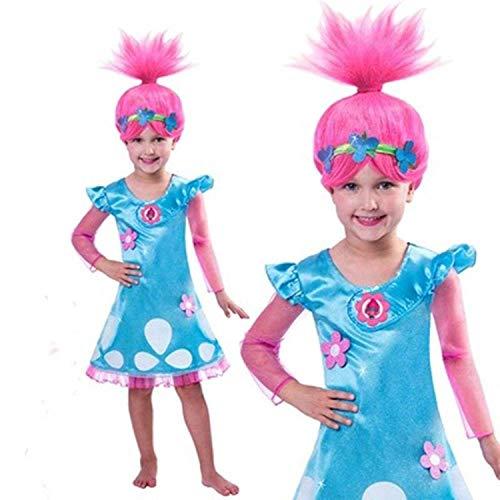 Piccoli monelli costume trolls poppy bambina 3 4 anni vestito di carnevale con parrucca inclusa 110 cm