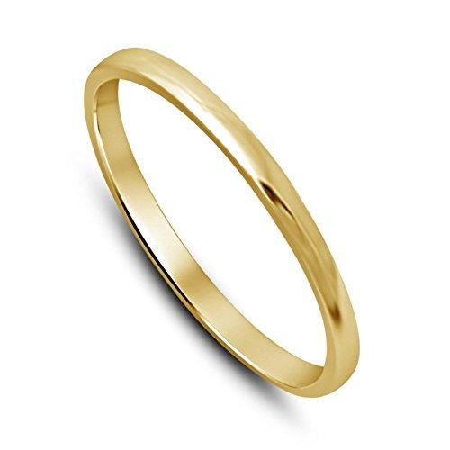 Lilu gioielli donna rotonda da 2mm Sottile a cupola, Fede nuziale Wedding Band In Argento Sterling 925placcato oro 14K, argento, 17,5, colore: Yellow, cod. RR152535