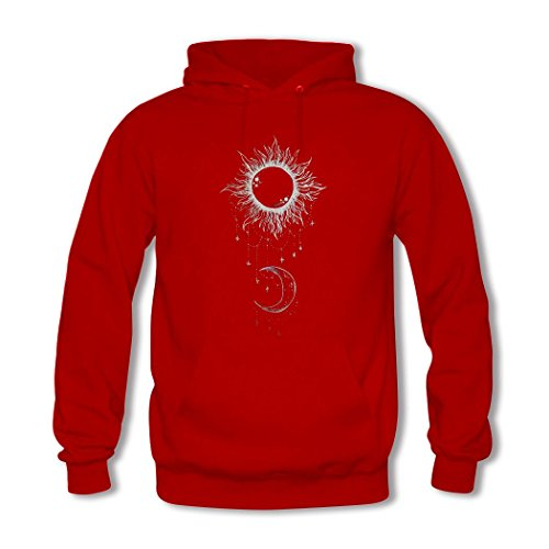 HGLee Printed Personalized Custom Moon and Sun Women's Sweatshirts Hooded Hoodies Red--3