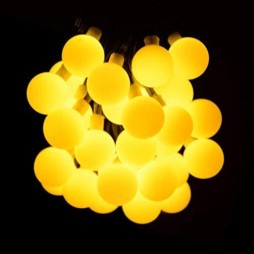 FCXBQ Solar-LED-Globe-Lichterkette, 20ft 30 LED-weiße mattierte Ball-Fee-Weihnachtslichter-Wasserdichte Lichter für Gartenfest-Hochzeits-neues Jahr-Dekoration im Freien,warmwhite