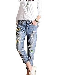 SaiDeng Mujer Baggy Jeans Hole Parche Pantalones Largos Pantalones Harén Zarco 27