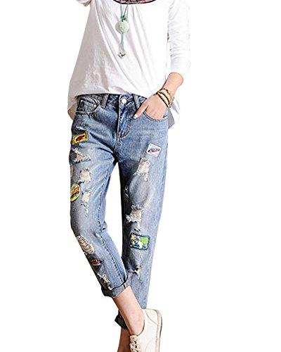 SaiDeng Donne Toppa Jeans Strappato Distressed Lavato Denim Tempo Libero Pantaloni Azzurro Chiaro 31