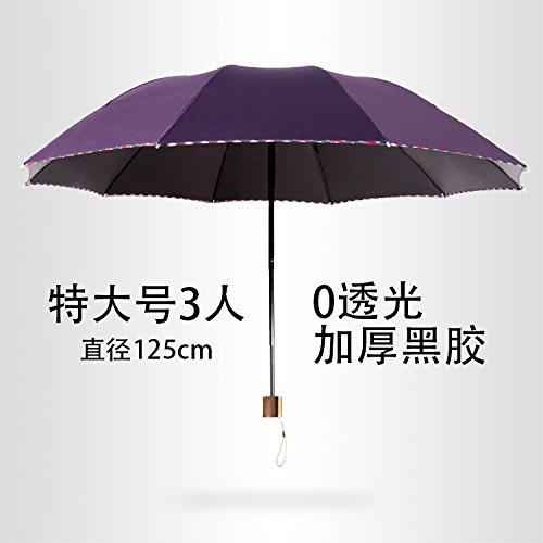 LybCvad Regenschirm Mode Kreative seltsame 3 Fach Stapel von Männer Super Große Taifun Regen Doppel Farbverlauf Wind, Lila (XL 3 Schwarze Sonnencreme)