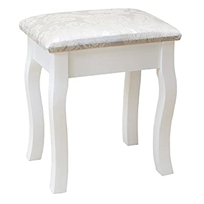 UEnjoy White Dressing Table Stool Padded Piano Chair Makeup Seat With Cushion - inexpensive UK light store.