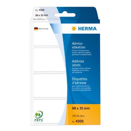 Preisvergleich Produktbild Herma 4300 Adressetiketten (endlos leporello-gefalzt, Papier matt, 88 x 35 mm) 250 Stück weiß