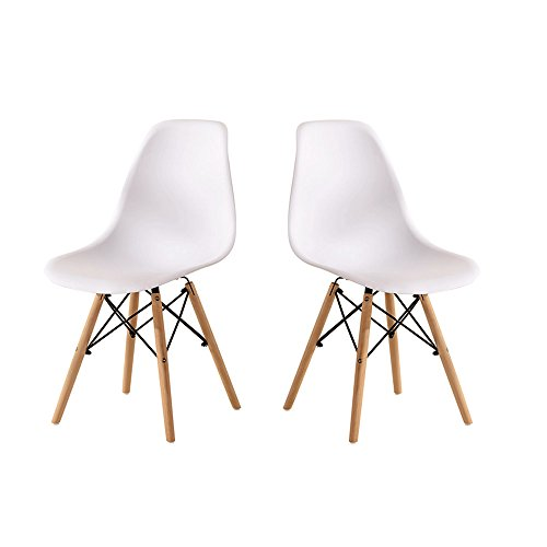 Set de 2Figurita de vida estilo Eames silla de comedor oficina silla con patas de madera maciza
