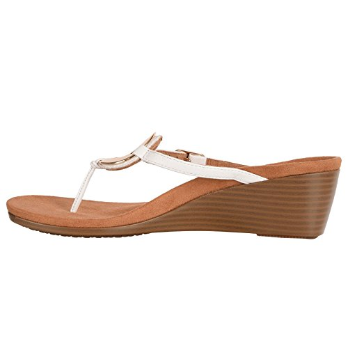 Vionic Womens 380 Orchid Park Leather Sandals Weiß