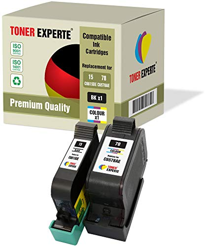 2 XL TONER EXPERTE® Druckerpatronen kompatibel für HP 15 HP 78 Deskjet 3810 3820 815c 916c 920c 940c 948c Copier 310 Officejet 5110 V30 V40 V45 PSC 2120 700 720 750 760 900 950 (Schwarz, Farbe) -