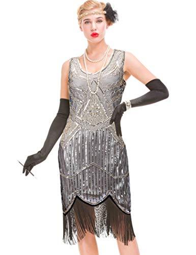 GVOICE Damen 1920er Jahre Vintage Kleid - Fransen Great Gatsby Kleid (Dunkelbeige, L(UK 14 / EU 42) Bust 37. 8