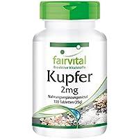Kupfer 2mg - GROSSPACKUNG für 100 Tage - VEGAN - HOCHDOSIERT - 100 Tabletten - Nahrungsergänzung als Kupferbisglycinat